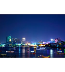 Pattaya night city Wall Mural Wall art Wall decor