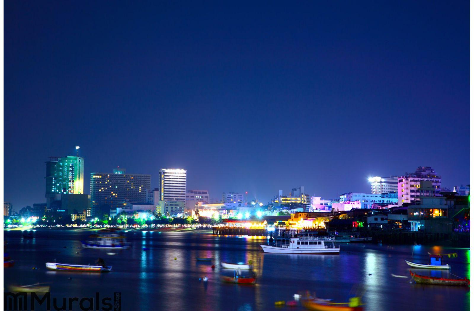 Pattaya Night City Wall Mural