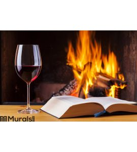 Red wine and book at cozy fireplace Wall Mural