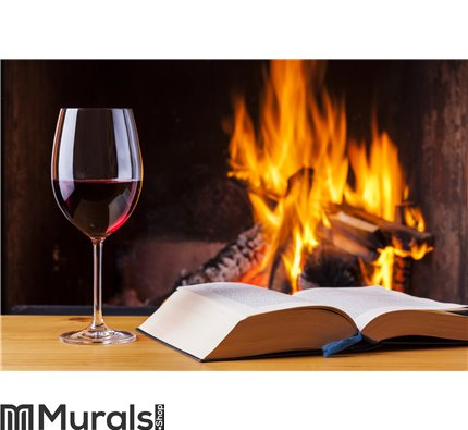 Red wine and book at cozy fireplace Wall Mural Wall art Wall decor