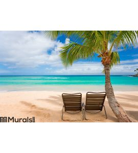 Romantic beach two chairs Wall Mural