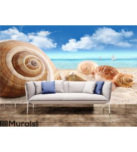 Seashells on the beach Wall Mural