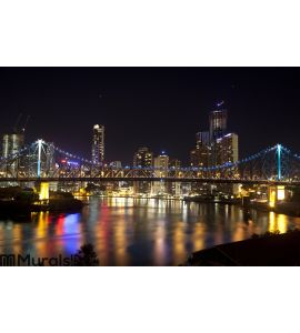 Story Bridge and Brisbane City center Wall Mural Wall art Wall decor