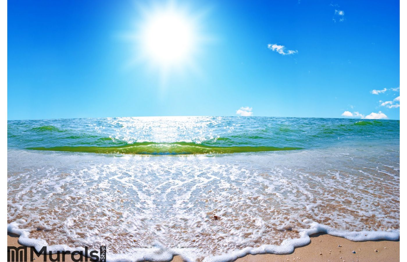 summer sea landscape with the solar sky wall mural
