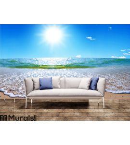 Summer sea landscape with the solar sky Wall Mural Wall art Wall decor