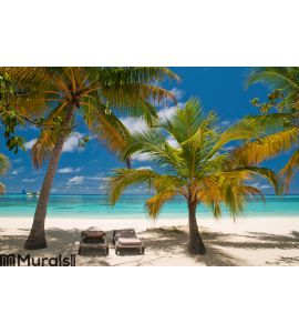 Sunbeds on a tropical beach Wall Mural