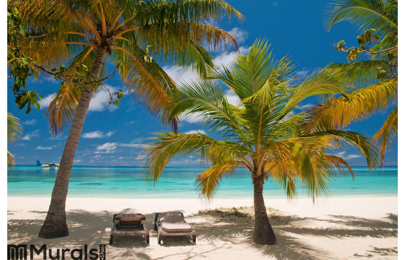 Sunbeds On A Tropical Beach Wall Mural