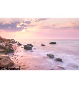 Sunrise landscape over beautiful rocky coastline Wall Mural
