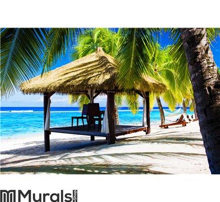 Tropical gazebo with chairs on a beach Wall Mural