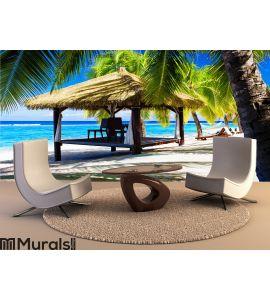 Tropical gazebo with chairs on a beach Wall Mural Wall art Wall decor