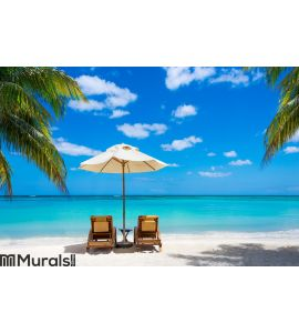 Two deckchairs on the idyllic white beach Wall Mural Wall art Wall decor