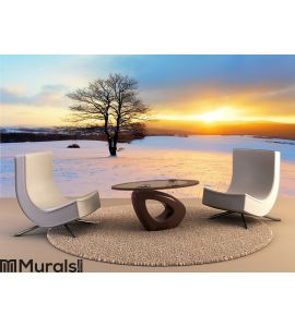Winter landscape in snow nature Wall Mural Wall art Wall decor