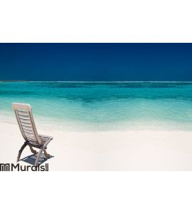 Wooden Canvas Chair On A Beautiful Tropical Beach Wall Mural Part 71