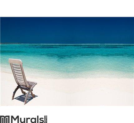 Wooden canvas chair on a beautiful tropical beach Wall Mural