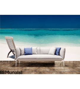 Wooden canvas chair on a beautiful tropical beach Wall Mural Wall art Wall decor