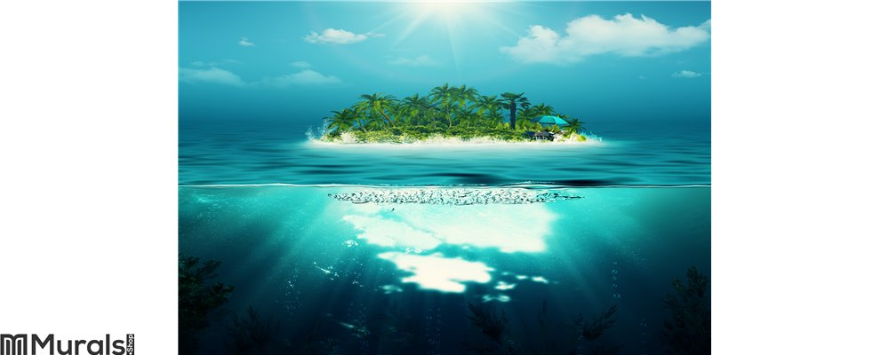 Alone island in the ocean Wall Mural