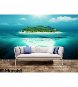 Alone island in the ocean Wall Mural