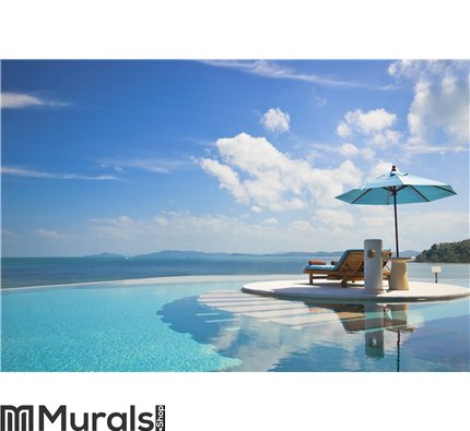 Beach chair with umbrella on private pool Wall Mural Wall art Wall decor