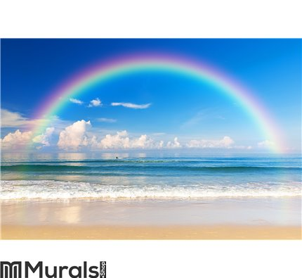 Beautiful sea with a rainbow in the sky Wall Mural Wall art Wall decor