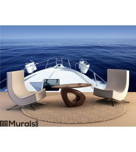 Boat on the blue Mediterranean Sea yachting Wall Mural Wall art Wall decor