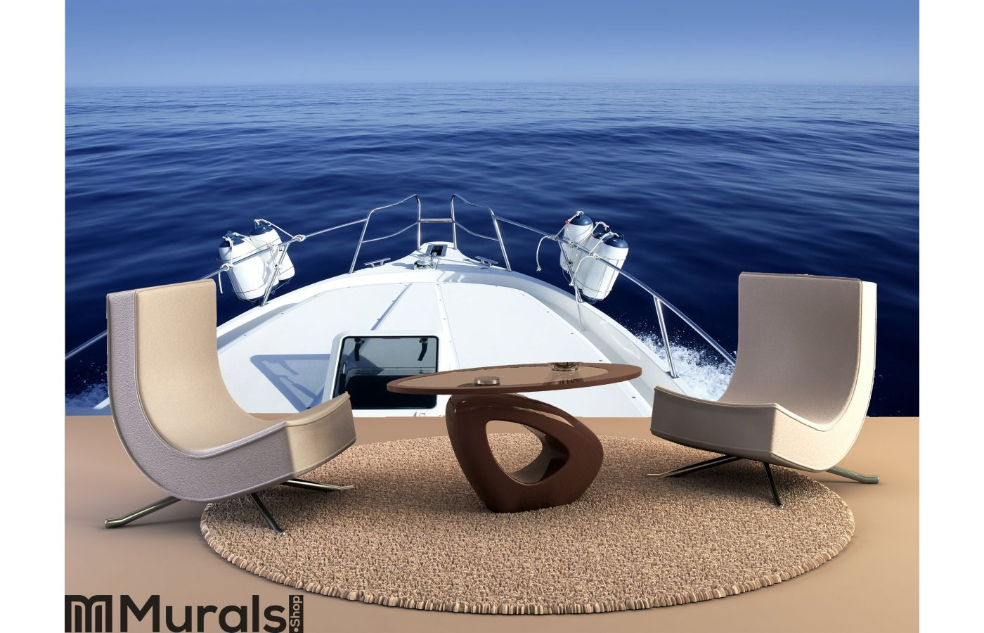 Boat On The Blue Mediterranean Sea Yachting Wall Mural