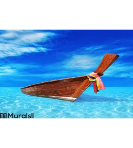 Brown wooden boat in the blue sea Wall Mural