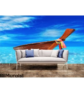 Brown wooden boat in the blue sea Wall Mural Wall art Wall decor