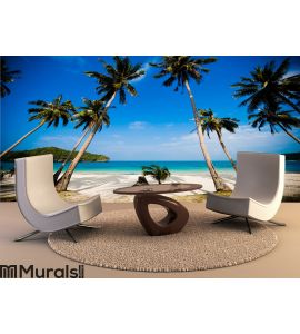 Coconut palms on the beach Wall Mural Wall art Wall decor