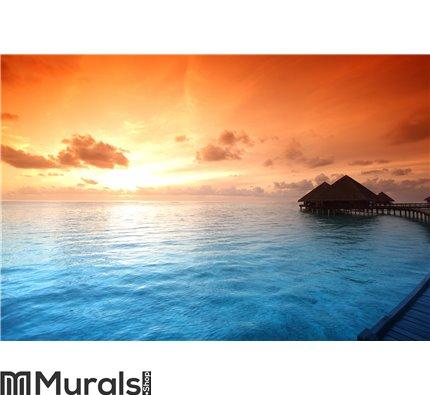 Maldivian houses on sunrise Wall Mural Wall art Wall decor