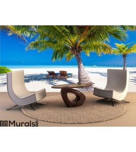 Deck chairs under umrellas and palm trees Wall Mural Wall art Wall decor