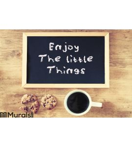 Enjoy The Little Things Background phrase Wall Mural