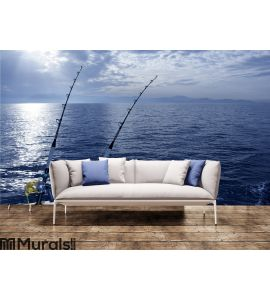 Fishing boat trolling with two rods and reels Wall Mural Wall art Wall decor