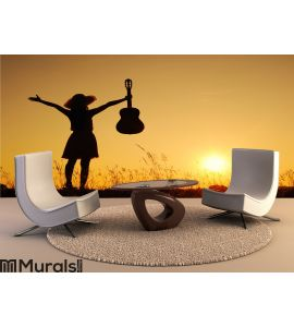 Happy woman and guitar with sunset Wall Mural Wall art Wall decor