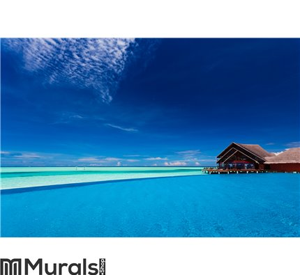 Infinity pool over tropical lagoon with blue sky Wall Mural Wall art Wall decor