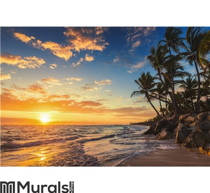 Landscape Of Paradise Tropical Island Beach Wall Mural Art Decor