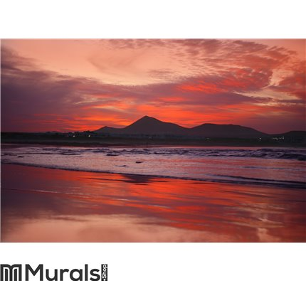 Orange sunset in playa Famara, Lanzarote Wall Mural Wall art Wall decor