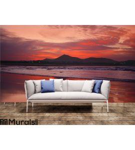 Orange sunset in playa Famara, Lanzarote Wall Mural Wall art Wall decor