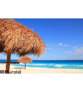Palapa sun roof beach umbrella in Caribbean Wall Mural