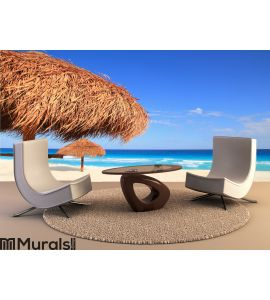 Palapa sun roof beach umbrella in Caribbean Wall Mural Wall art Wall decor