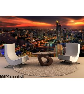 River in Bangkok city Wall Mural Wall art Wall decor