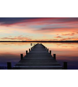 Romantic scenery starnberg lake, at sunset Wall Mural